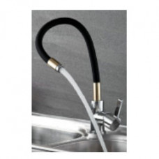 Смеситель LEDEME L4898-10 черный,с гибким изливом,поворотный